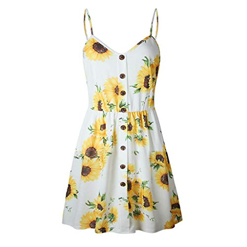 Aniywn Women Ladies Spaghetti Straps Short Mini Dress Summer Floral Print Backless Button Princess Dress Yellow