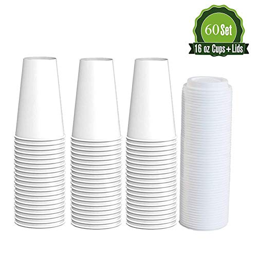 Disposable Hot Paper Coffee Cups,16 oz 60 Count Amsuper Disposable Coffee Cups with Lids for Party, Office, Restaurant, and Togo
