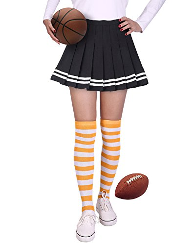 HDE Womens Striped Socks School Team University Colors OTK Long Knee High socks (Orange and White)...]()