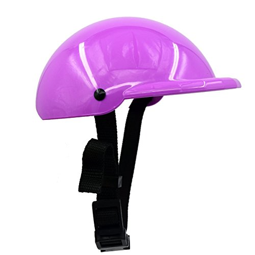 CAZZO Cool Pet Dog Motorcycles Bike Helmet/Sunglasses for Sun Rain Protection,Funny Halloween Cosplay Costume and Christmas Gifts for Cats Dogs (Purple Helmet) ()