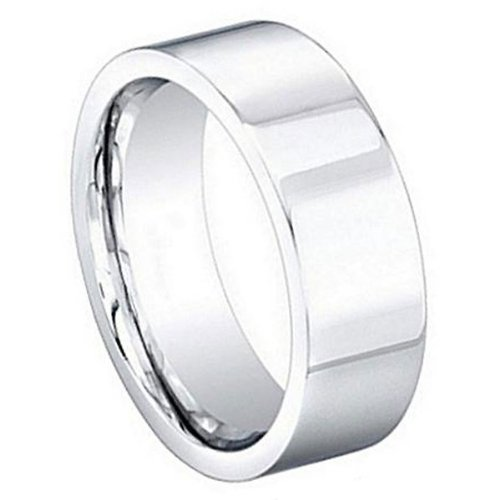 8 Mm Pipe (8mm High Polished Classic Flat Pipe Cut Designer Cobalt Wedding Band Ring - Size 10.5)