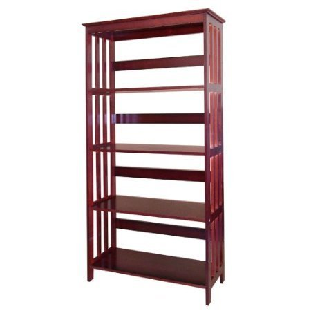 Fancy Cherry Mission Style Wooden 4-tier Bookcase ()