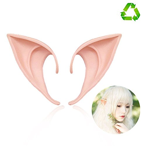 HUHUBA Elf Ear Costume Halloween Party Props, Soft Pointed Ears of Fairy Pixie for Anime Cosplay,(orange,size?M/L) -