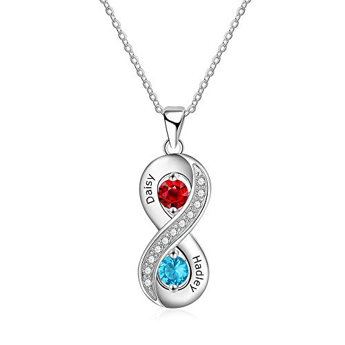 ROSI Personalized Necklaces for Women with 2 Simulated Birthstone 2 Names Pendant Couples Matching Relationship Promise Name Necklaces Mother