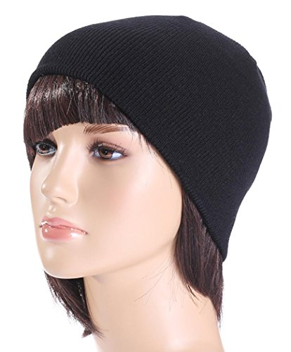 Veenajo Unisex Skull Cap Beanie Knitted Ski Winter Hat Solid Color Beanie Hat (Black) (Burgundy Felt Bonnet)