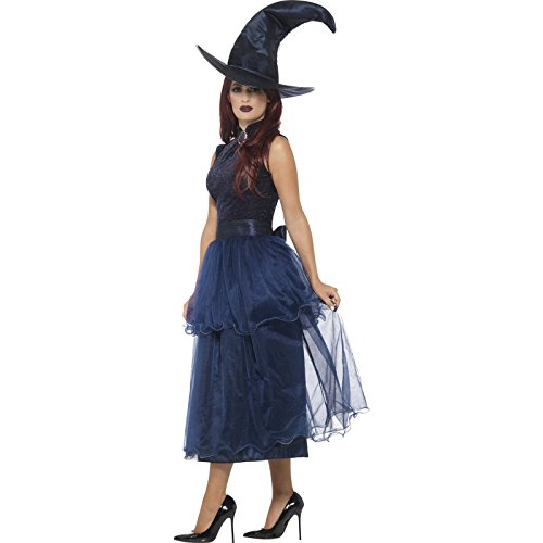 Smiffy's Women's Deluxe Midnight Witch Costume, Blue, Small - Midnight Blue Costumes