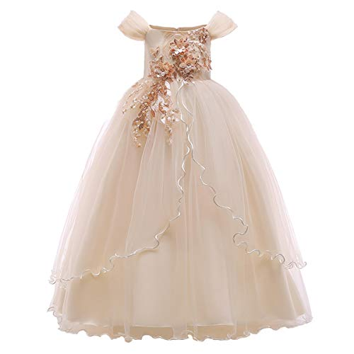 (Kids Girl Off Shoulder Embroidery Flower Tulle Lace Long A Line Pageant Dress Wedding Birthday Party Floor Length First Communion Formal Princess Prom Holiday Dance Maxi Ball Gown Champagne 7-8)