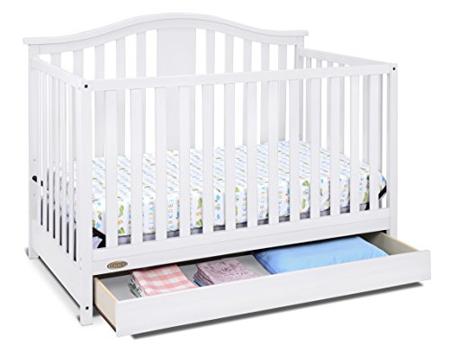 Graco Solano 4-in-1 Convertible Crib with Drawer, White, Easily Converts to Toddler Bed Day Bed or Full Bed, Three Position Adjustable Height Mattress, Some Assembly Required (Mattress Not Included)