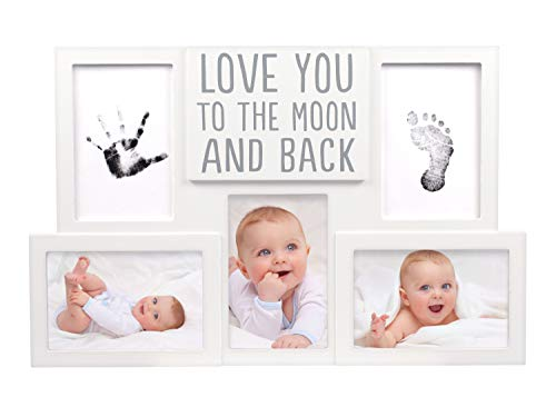 Pearhead Love You to The Moon & Back Babyprints Photo Collage Frame, Baby Shower, Baby Gifts, White from Pearhead