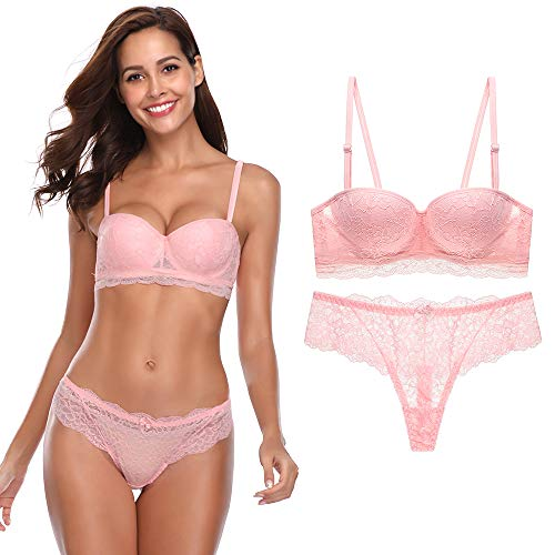 Women's Lace Bra Set Sexy Lingerie Bra and Panties Push Up Underwire Bra (Pink-1, 36B) ()