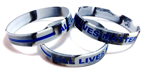 3 Pack of ALL LIVES MATTER with Thin Blue Line Rubber Wristband Silicone Bracelet (White & Black Swirl, Medium (7.5
