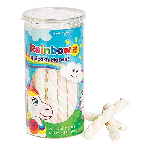 Fun Express - Rainbow Unicorn Marshmallow Twists - Edibles - Soft & Chewy Candy - Taffy & Marshmallow - 20 Pieces ()