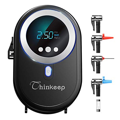 Thinkeep Portable Air Compressor,12V Car Mini Tire Inflator Digital Tire Pump Auto Shut Off Preset Tire Pressure,Emergency Led Lighting for Car Motorcycle, Bicycle, Ball, Inflatable Toys