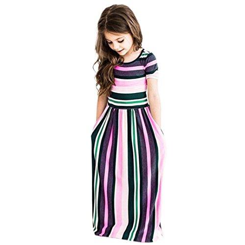 Hatoys Children Kids Girls Striped Party Beachwear Outfits Long Dress (4T, Pink) -