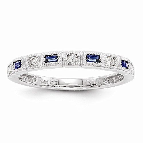 JewelrySuperMart Collection 14k White Gold 1/10 CT Round Diamond & 0.20 CT Baguette Blue Sapphire Ring