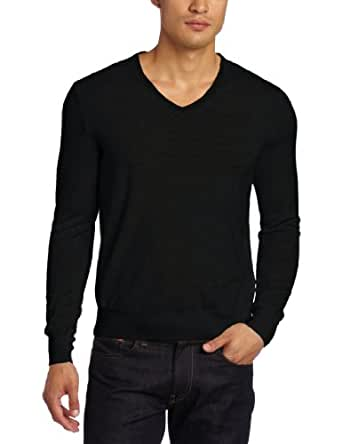 Calvin Klein Men's Tipped Merino V-Neck Sweater, Black, Small