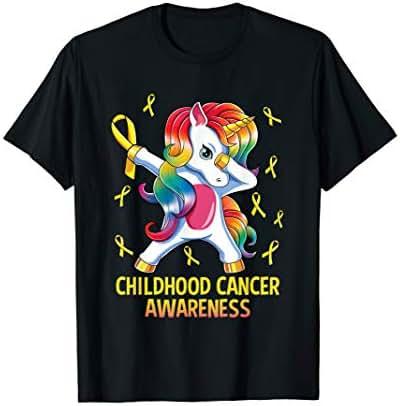 Dabbing Unicorn Childhood Cancer Awareness Warrior Gift T-Shirt