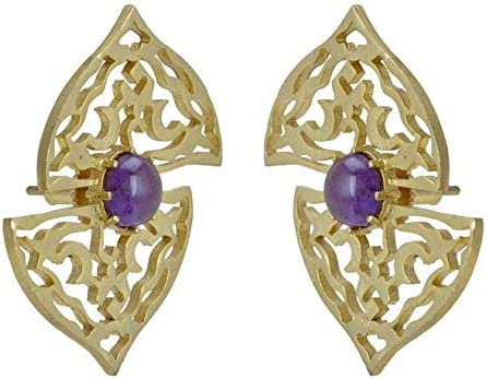 Taashya Golden Pretty Ear Piece with Purple Bead shadded