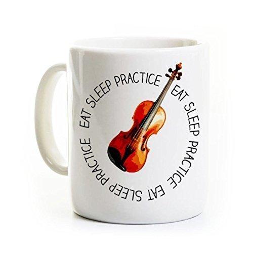 Violin Player Ceramic Coffee Mug - Eat Sleep Practice