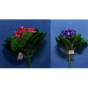 "Quality 9"" Choose African Violet Gloxinia Artificial Faux Silk Flower Bush 10"
