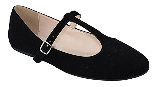 City Classified Women Ballet Flats Mary Jane Shoes Ankle T-Strap Duffel-H Black Suede 6 ()