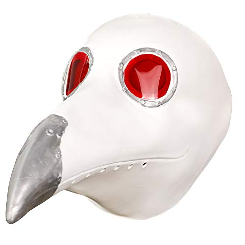 Steampunk Plague Doctor Mask Halloween Costume Party Latex Long Nose Bird Beak Cosplay Props White]()
