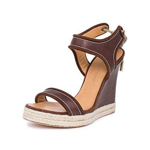 DSQUARED2 Women Brown Leather Espadrille Platform Wedge Heel Sandals Shoes US 8 EU 39 - Leather Espadrille Platform Wedges