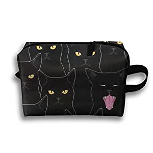 Night And Black Cats Receive Bag Toiletry Bag Canvas Wash Bag Foldable Multi-function Makeup Pouch Portable Storage Bag Travel Bag