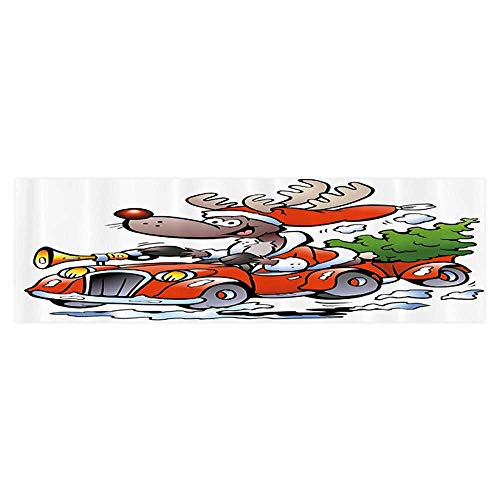Leigh R. Avans 3D Aquarium Background Ruldolph Reindeer Racing in Red Vintage Car with Xmas Tree Horn Santa Hat Winter HD Fish Tank Decorations Sticker 29.5