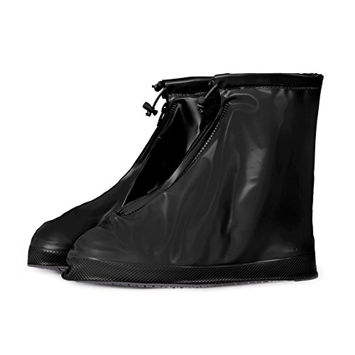 Fashion Waterproof Rain Shoes Covers Women Men Kids Snow Boots Shoes Covers Thicken Sole Slip-resistant Over Shoes for Cycling, Outdoor, Camping, Fishing, Garden (2XL, Black)