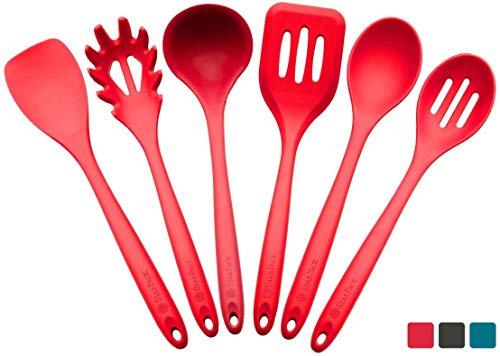 StarPack Basics XL Silicone Kitchen Utensil Set (6 Piece), High Heat Resistant to 480°F, Hygienic One Piece Design, Large Non Stick Spatulas & Serving Utensils (Cherry Red)