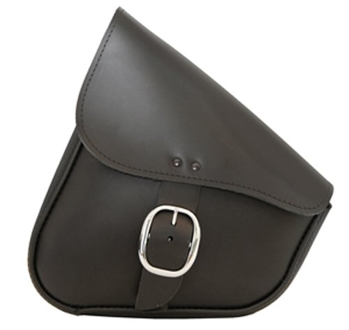 Chrome Buckle Dowco Willie /& Max 59823-00 Triangulated Leather Motorcycle Swingarm Bag 9 Liter Capacity Black