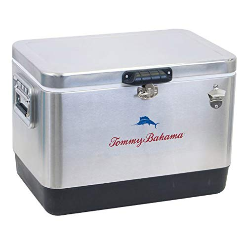 Tommy Bahama 54 Quart 85 Can Capacity Portable Stainless Steel Cooler, Silver