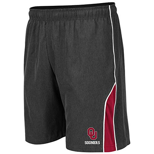 Colosseum NCAA Mens Basketball Shorts - Athletic Running Workout Short-Charcoal with Team Colors-Oklahoma Sooners-Medium
