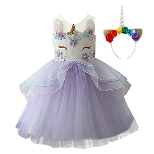 (Little Big Girls Flower Tulle Birthday Unicorn Costume Cosplay Princess Wedding Pageant Tutu Dress up Formal Party Dance Evening Gowns Headband)
