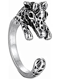 Creative Alloy Opening Animal 3D Giraffe Restoring Unisex Ancient Bronze and Silver Ring