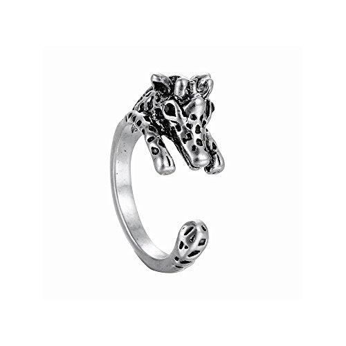 Winter's Secret Creative Alloy Opening Animal 3D Giraffe Restoring Unisex Ancient Silver Ring