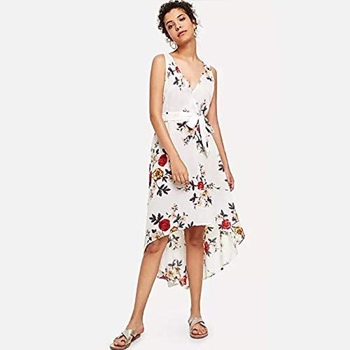 TTSKIRT Mujer Vintage/Elegante Corte Swing Vestido - Acordonado/Estampado, Floral Mini/Asimétrico Rose,White,L