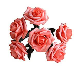 Wedding Flowers Coral Artificial Flowers Real Like Coral Roses 72 stems For Wedding Bouquet, Wedding Party Decoration, Table Centerpieces 66