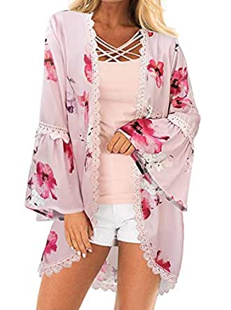 PINKMILLY Womens Floral Print Bell Sleeve Kimono Cover Up Lace Trim Chiffon Long Cardigan Loose Blouse Light Pink Small