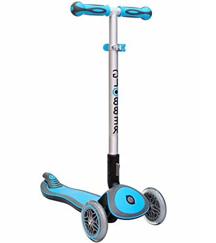Elite Wheel Scooter 3 - Globber Elite 3 Wheel Folding Adjustable Height Scooter (Light Blue)