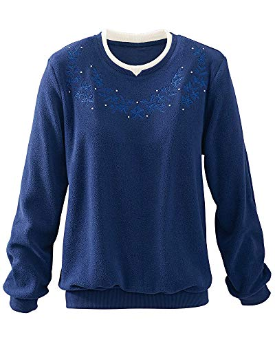 - Alfred Dunner Floral Anti-Pill Pullover, Sapphire, 1X