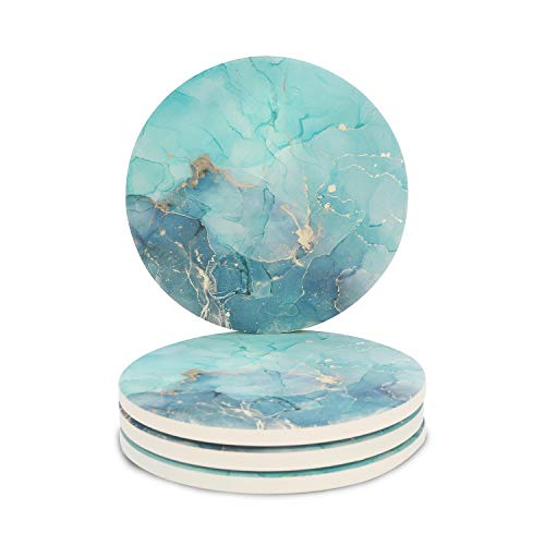Miwen Coasters for Drinks, Absorbent Ceramic Stone with Cork Back, 4.25'' Large Diam, Prevent Furniture from Dirty, Spills, Water Ring and Scratched, Housewarming Gift