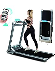 OVICX Q2S Folding Portable Treadmill Compact Walking Running Machine for Home Gym Workout Electric Foldable Treadmills with LED Display Phone Holder Treadmill for Small Spaces 3.0HP Weight Capacity 300 lbs