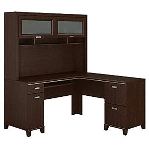 Bush Furniture Tuxedo L Shaped Desk with Hutch in Mocha Cherry