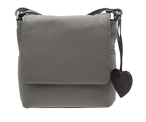 Sac en bandoulière en cuir compact Collection Anishka en Cuir 772_75 Grey Candy
