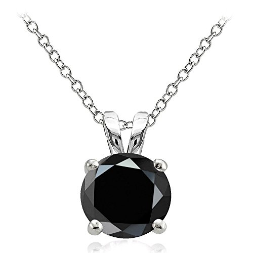 Hoops & Loops Sterling Silver 4ct Black Cubic Zirconia 10mm Round Solitaire Necklace (10mm Solitaire)