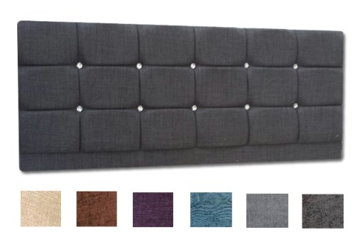 Turin Fabric Diamond Diamante Vancouver Headboard 4Ft Small Double Size - Choice of 6 Colours (PURPLE)