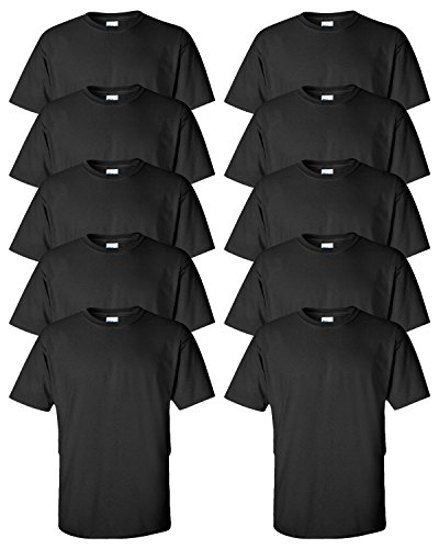 - Gildan mens Ultra Cotton 6 oz. T-Shirt(G200)-BLACK-XL-10PK