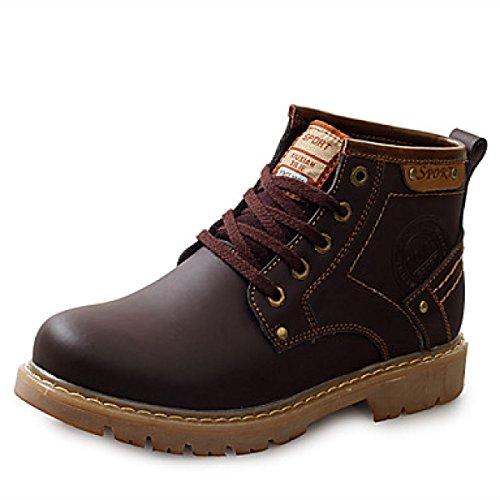 Stivali Da Uomo Primavera Estate Autunno Inverno Comfort Leather Office Carriera Casual Tacco Piatto Lace-up Nero Marrone Brown